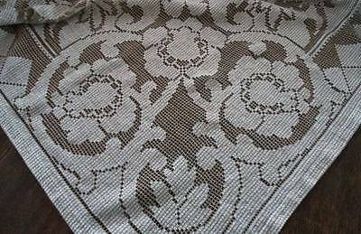 """Vintage Embroidered Net Lace Tablecloth Ecru Taupe Art Deco Floral 80"""""""