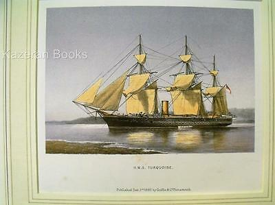 Antique Colour Lithographic Print HMS Turquoise Victorian Ships Royal Navy