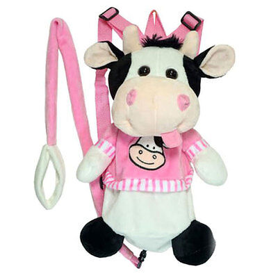Baby Plush Cow Backpack Safety Anti lost Harness w/ Leash Kids Toddler Bag Toy