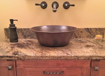 "15"" Round Hammered Copper CAZO Vessel Sink"