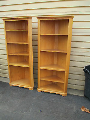 51589  Pair Oak Corner Cabinet Bookcase s