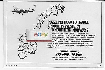 Wideroe Norway 1978 Twin Otter Jigsaw Puzzle Of Norway Ad