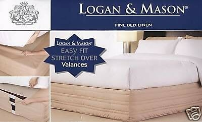 New LOGAN & MASON Easy Fit Stretch Over Quilted 250 TC CREAM KING Size VALANCE