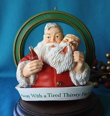 Coca Cola Trim a Tree Ornament 1990 Away with Tired Thirsty Face
