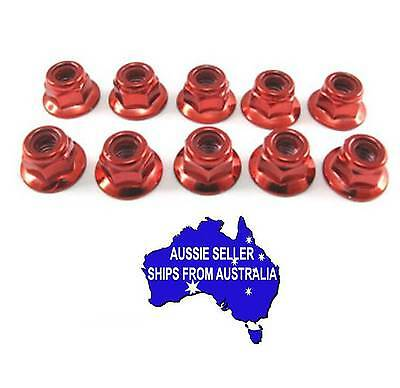 3mm steel flanged lock nuts may suit Tamiya HPI 1:10 RC anodised - RED