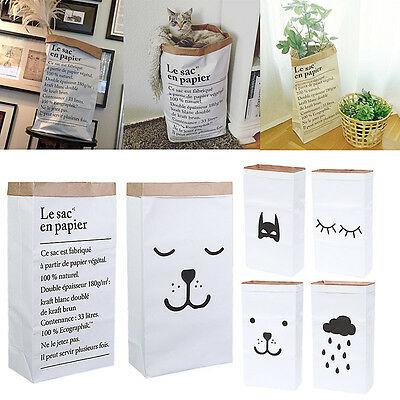New Heavy Kraft Paper Storage Bags Laundry Bag Toys Clothes Organizer Home
