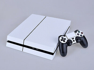 Carbon Fiber Sticker Cover Wrap For PS4 Console 2Controller Skin Decal White