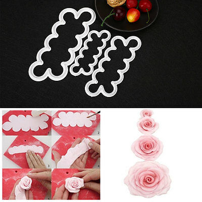 Professional Rose Flower Cookie Gum Paste Cutter Cake Mold Decorating Tool