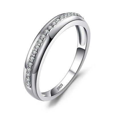 JewelryPalace 925 Sterling Silver Cubic Zirconia Wedding Band Channel Set Ring