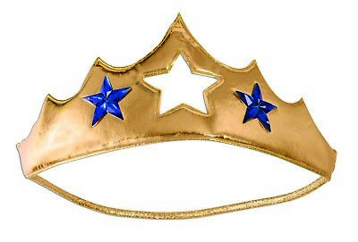 Gold Wonder Woman Superhero Hero Heroine Soft Crown Tiara Costume Accessory