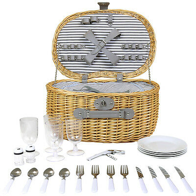 Charles Bentley Oval Willow Wicker Picnic Basket Set 4 Person Striped Lining