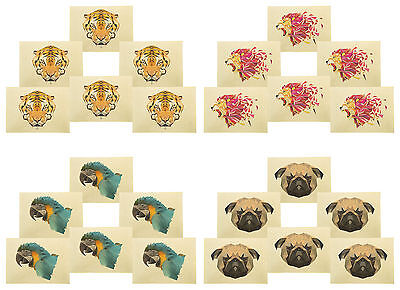 Animals in geometric pattern style Printed Canvas Placemats 13x19 Inch Set of 6