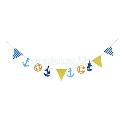 Navy Nautical Style Hanging Banner Garland Bunting Pennant Party Decorations