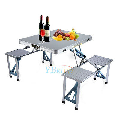 Aluminium Portable Folding Camping Picnic  Table Outdoor BBQ Chairs Stools New