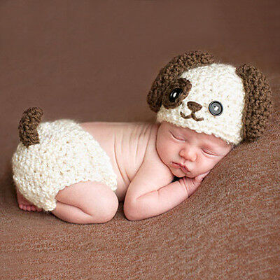 0-4M Newborn Baby Boy Girl Crochet Cute Puppy Hat Outfits Photo Photography Prop