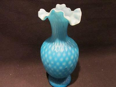 "Fenton Vintage Unsigned Blue Satin Diamond 7"" Tall Crimp Ruffle Top Vase"