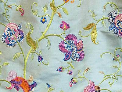 """Embroidered Shot Silk Fabric Iridescent Gray with Fantasy Flowers 54"""" Wide"""