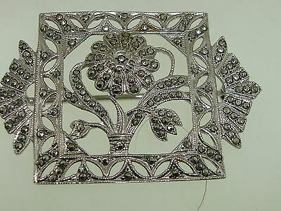 Beautiful Art Nouveau Sterling Silver Filigree Sparkling Marcasite Pin/Brooch!