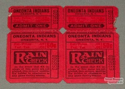 1940's Can-Am Oneonta Indians Lot of 2 Baseball Tickets