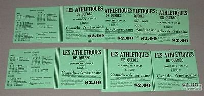 1942  Lot Of 7 Can-Am Quebec Athletics Baseball Tickets