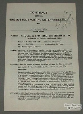 1938 Baseball Contract Signed by Emile Bernard