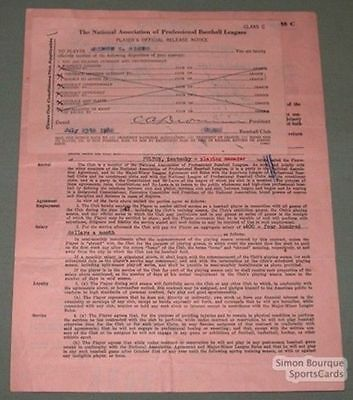1942 Quebec Athletics Mel Simons Signed Contract