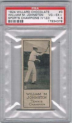 1924 Willard Chocolate Sports Card #3 William M. Johnston Tennis Graded PSA 4.5