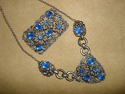 Beautiful Vintage 1920-30's Silver Floral Blue Rhinestone Necklace & Pin Set!