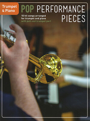 Pop Performance Pieces for Trumpet & Piano Sheet Music Book Coldplay Adele Elton