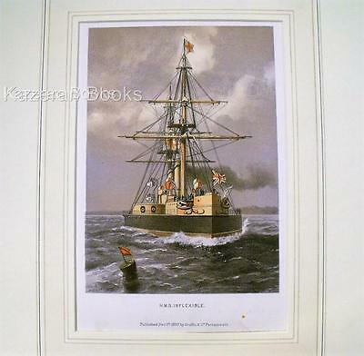 Colour Lithographic Print HMS Inflexable Victorian Ships Of Royal Navy Antique