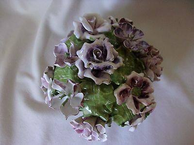 Capodimonte Italy Porcelain Footed Bowl of Porcelain Purple Flowers