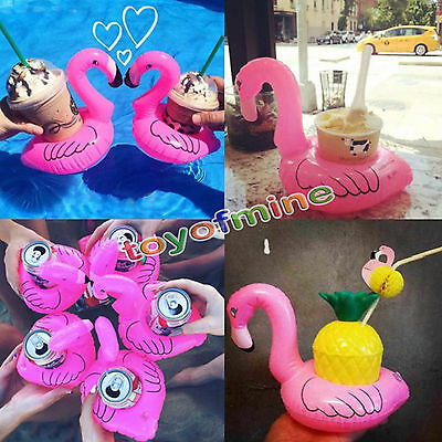 1/5pcs Flamingo Floating Inflatable Drink Coke Can Cup Holder Pool Bath Kid Toys