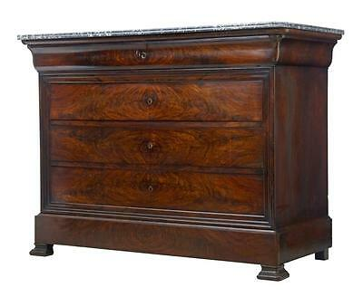 Stunning 19Th Century French Mahogany Marble Top Commode