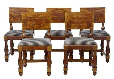 Set Of 5 Art Deco Period Pine Dining Chairs