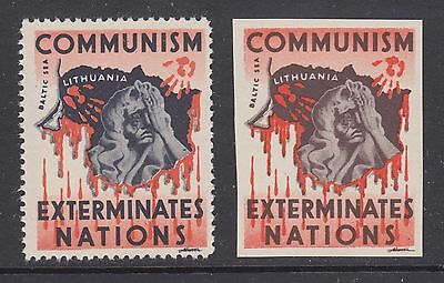 Lithuania, ca. 1950 Anti-Communist labels, perf & imperf, MNH
