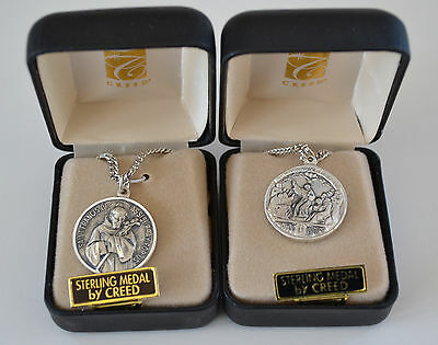 "St Francis of Assisi, Double-Sided Sterling Silver 7/8"" Medal, by Creed, NIB"