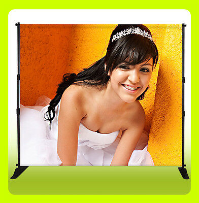 10x8 Ft Custom Wedding, Quinceañera Backdrop Banner Stand