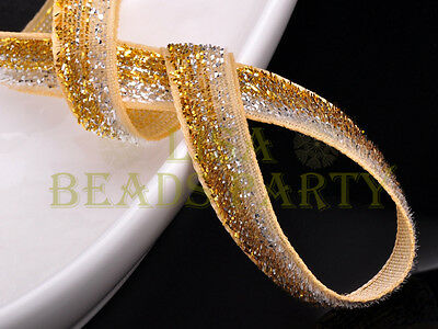 "10yards 3/8"" 10mm Bling Ribbon Bows Wedding Party Decoration Sew Gold Silver"