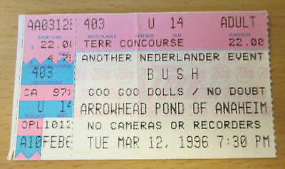 1996 Bush Goo Goo Dolls No Doubt Anaheim Pond Concert Ticket Stub Gwen Stefani