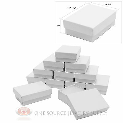 "12 White Gloss Cotton Filled Gift Boxes 3 1/4"" X 2 1/4"" Charm Pendant Jewelry"