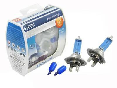 Genuine Philips Crystal Vision H7 Headlight Bulbs + Parkers Upgrade Globes Set