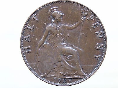 1907 Edward VII Halfpenny - Lovely Coin, Sharp Detail, FREE POSTAGE (D819)