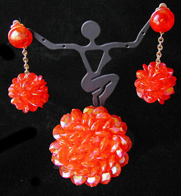 Vintage Iridescent ORANGE Plastic BEAD POM-POM Brooch & Earrings SET~Hong Kong