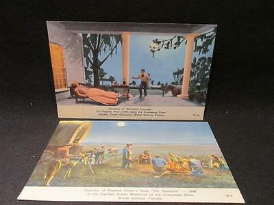 Dioramas of Beautiful Dreamer W15 & Oh Susanna W8 Unused Vintage CT Postcards