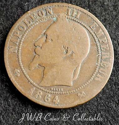 1864-K Napoleon III France 10 Centimes Coin.