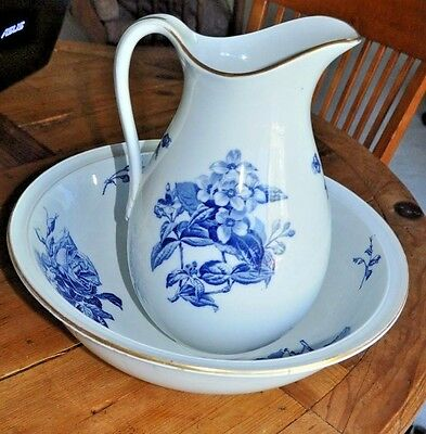 Antique Copeland Cabbage Rose Pitcher And Wash Basin