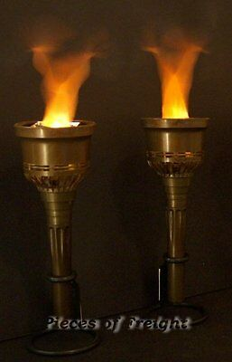 2 NEW Flaming Halloween TORCHES Prop BATTERIES INCLUDED