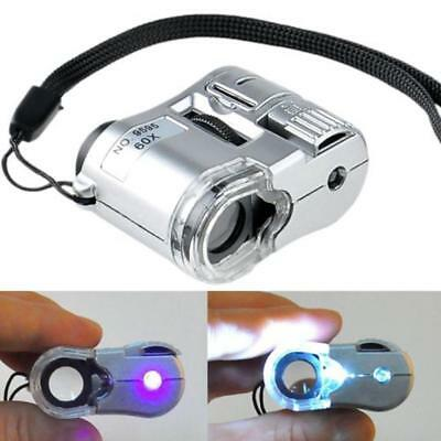 Pocket LED UV 60X Mini Glass LED Light Microscope Jewelry Magnifier Loupe