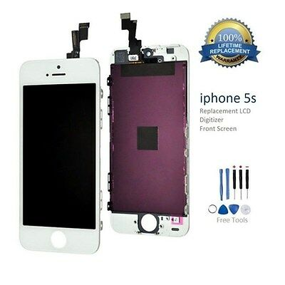 New For iPhone 5S White LCD Screen Replacement Glass Assembly Digitizer +Tools