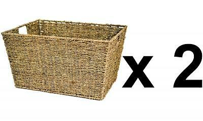 e2e Set of 2 Seagrass Deep Kitchen Bathroom Storage Basket Box with Handle Holes